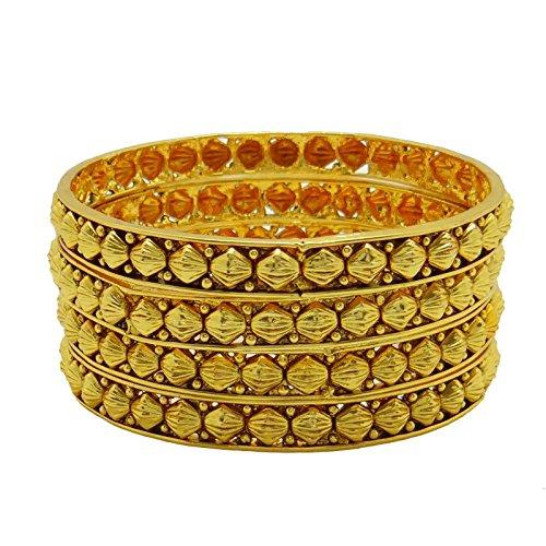 Banithani Indian Ethnic Bollywood 18K Goldplatte 4 Stück Armreif-Set Trachtenschmuck Geschenk für sie 2 * 8