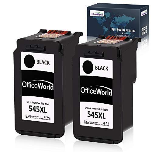 OfficeWorld Ersatz für Canon PG-545 Schwarz Druckerpatronen PG-545XL Kompatibel für Canon PIXMA MX495 MG2555 iP2850 MG2950 MG2550 MG2900 MG2500 MG2450 MG2455 iP2800, 2 Schwarz
