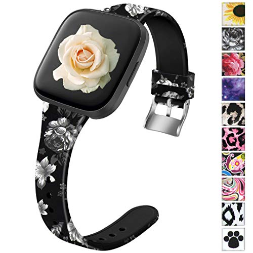 Ouwegaga Compatible for Fitbit Versa Bands Versa 2 Lite Band Women Men Straps Floral Fairy Pattern Large