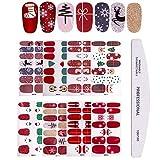 Kalolary 8 Feuilles 3D Nail Art Stickers Autocollants, Noël Nail Autocollant Noël Sticker Ongle Auto-adhésif Décalque de Transfert Pour Femmes Filles Enfants Stickers Manucure DIY Noël Ongles