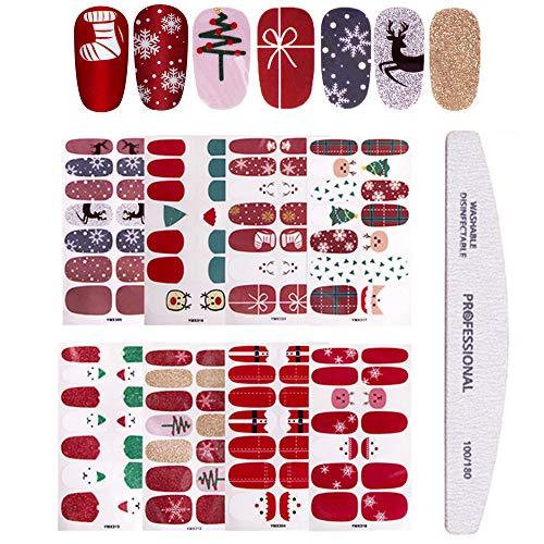 Kalolary 8 fogli Adesivo Smalto per Unghie, Adesivi per Unghie di Natale, Adesivi Unghie Nail Art Copertura Completa Nail Stickers Full Cover Decalcomanie Autoadesivi Unghie