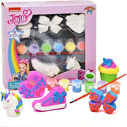 Jojo Siwa Paint Your Own Figurines, Decorate Your Own Painting Set, Includes 5 Jojo Siwa Figurines, 6 Pots of Paint, Complete Plaster Craft Kit for Kids