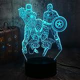 La veilleuse Avengers, Lampe de chevet Marvel 3D Illusion Marvel Comics Homme de fer homme...