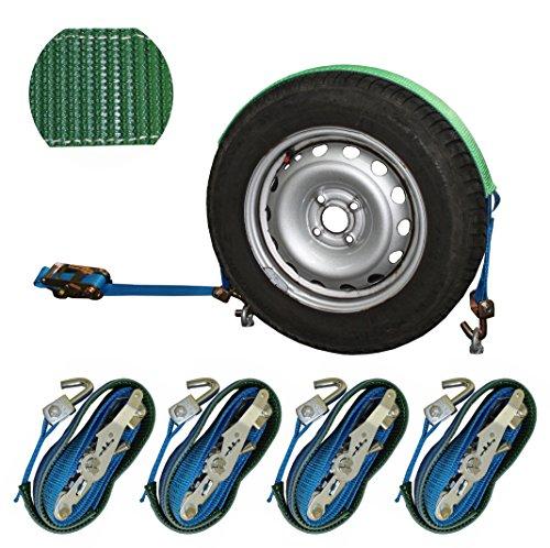 SHZ Spanngurt Autotransport 35mm Radsicherungsgurt 3t Zurrgurt LC 1.500/3.000 daN Auto Transport Spanngurt Reifengurt (42) (4)