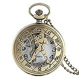 FMXKSW 12 Constelación Astrología Zodíaco Reloj de Bolsillo Retro Collar de Bronce Colgante Hombres Mujeres Cubierta abatible Hueca Cuarzo, Acuario