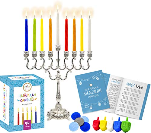 Complete Chanukah Menorah Set - Silver-Plated Classic Menorah, 45 Multicolored Candles, 5 Plastic Multicolored Dreidels & Hanukkah Play Coins, Hanukkah Booklet, Hanukkah Instruction Game Card