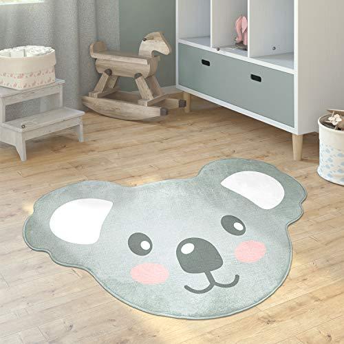 Paco Home Alfombra Infantil Cuarto Redonda Moderna Chicas Chicos Luna Koala Cabeza León, tamaño:110x150 cm Koala, Color:Gris