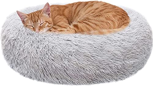 WEASHUME Cama de felpa para perros y gatos, con forma de donut para perros y gatos grandes, medianos y pequeños, antiedad, sueño mejorado, color gris claro, S 50 cm