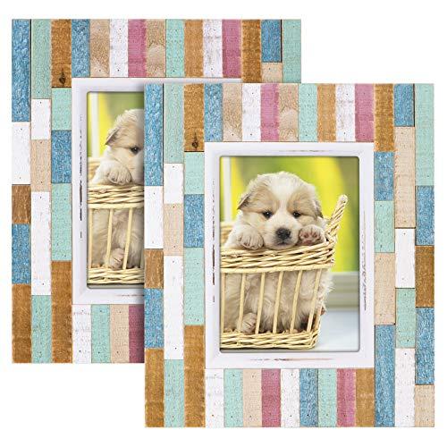 SRIWATANA Bilderrahmen Holz Foto 13 x 18 cm Fotorahmen 2 Stücke Rustikales Streifenholz mit Hochauflösendem Glas Fotorahmen für Tischdisplay und Wandmontage