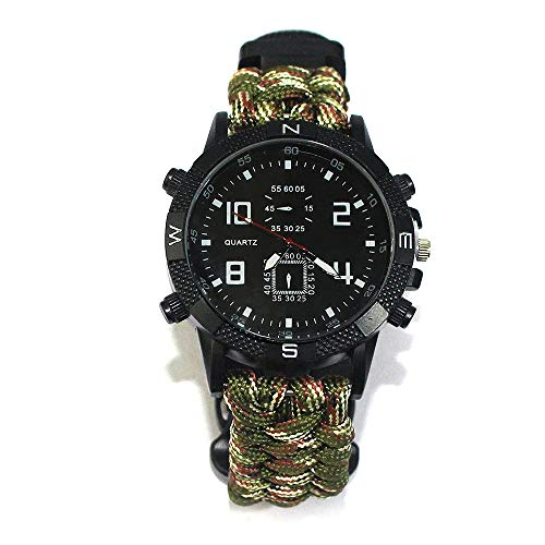 FGFGN Outdoors Running 5ATM Waterdichte Militaire Horloges, Multi-Action Horloge, Whistle Mountaineering Compass, outdoor survival horloge, geschikt voor outdoor bergbeklimmen reizen avontuur, size, Militaryfan