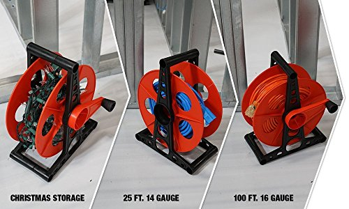 Woods E103 E-103 Wheel, Holds Up to 150 16/3 Extension 125 Feet of 14/3 Gauge Cord, Holiday, Rope, Hose Reel Storage and Light Wire, Heavy Duty Plastic, red and black