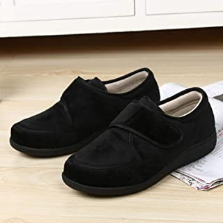 B/H Chaussons Patients diabétiques,Chaussures Anciennes réglables, Pieds enflés et Chaussures larges-40_Black,Hommes Femme...