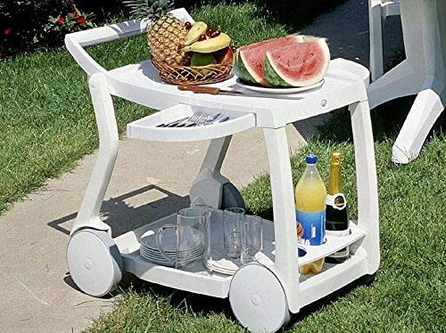 White Folding Bar Utility Cart With Wheels Foldable For Easy Storage 2 Shelves And 3 Bottle Beverage Holders Great For Indoor Or Outdoor Use