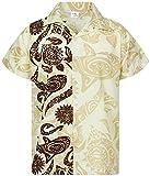 Funky Camisa Hawaiana, Manga Corta, Maori Wedding, Beige, L