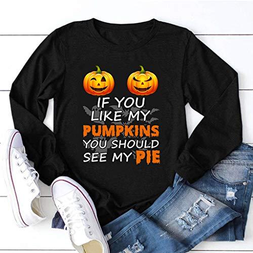 DNOQN Frauen Halloween Letter Drucken O Hals T-Shirt Langarm Beiläufig Bluse Top