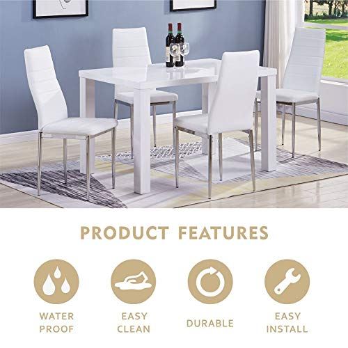 GOLDFAN High Gloss Dining Table and Chairs Set 4 People PU Leather Seats Morden Kitchen Table Dining Room Set,All White