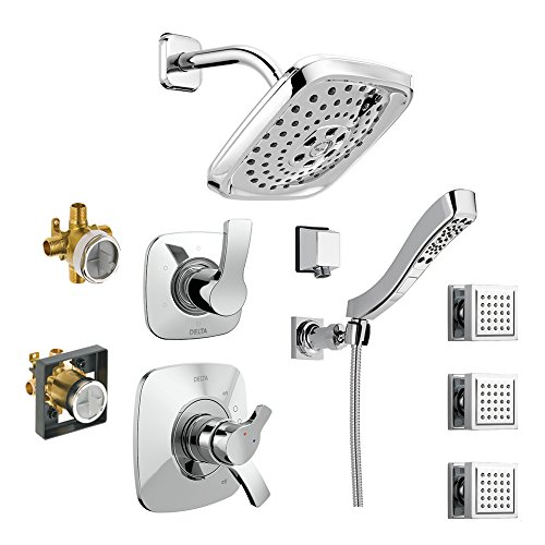 Sale!! Delta KS17252-DRH55B15-CH Tesla 17 Series Shower Kit with Hand Shower, 3 Body Sprays, and Rou...