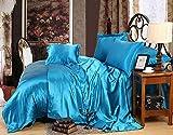 Individual Funda de edredón y Funda,Cubierta de seda de seda de hielo de color sólido de verano, ropa de cama, ropa de cama, arruga, fundido, hoja de bolsillo resistente a las manchas, hoja plana, fu