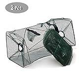 URFEDA 2 Pack-Collapsible Fishing Crab, Crayfish Trap Fishing Mesh Net, Fishing Pot Cage Folding, Fish Lobster...