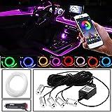 MEROURII - Luz interior LED RGB para coche, con APP, cable de fibra óptica, luz fría para coche, luz ambiental, 3 x 2 m, 2 x 4 m (cable de 6 m)