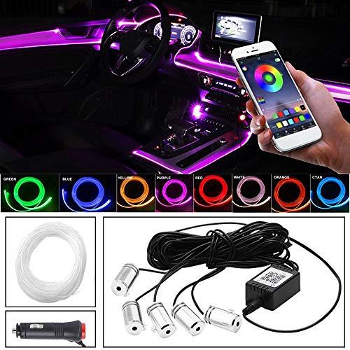 MEROURII Luz LED para interior de coche, RGB de fibra óptica, luz...