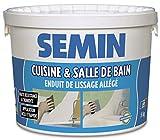 Semin A04736 Enduit de Lissage Cuisine et Salle de Bain, Adapté aux Pièces Humides, Seau de 5 kg