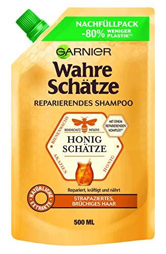 Garnier Wahre Schätze Reparierendes Shampoo Honig Schätze Nachfüllpack, pflegt strapaziertes Haar, mit Akazien Honig, Akazienblüten- und Bienenwachs, 500 ml