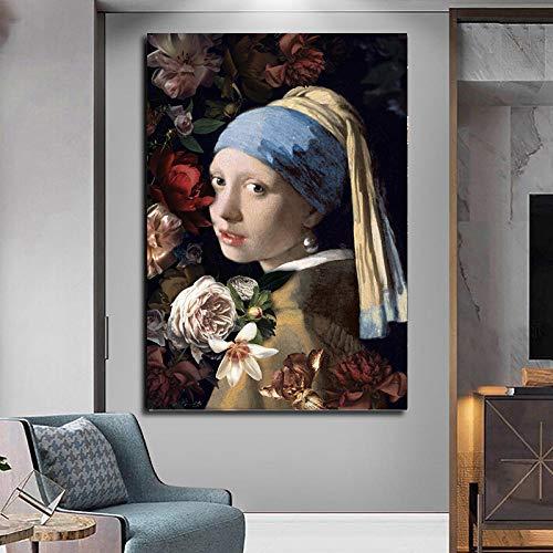 Pintura digital por número para adultos flores niña con un pendiente de perlas, arte para decoración de la pared del hogar