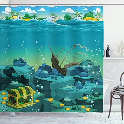 ABAKUHAUS Karikatur Duschvorhang, Versenkte Schiffs Piraten Kinder, Hochwertig mit 12 Haken Set Leicht zu pflegen Farbfest Wasser Bakterie Resistent, 175 x 200 cm, Teal & gelb