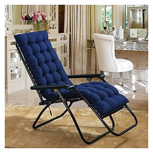 Almohadillas de cojín antideslizantes para tumbonas de jardín y patio colchoneta acolchada para sillón reclinable para viajes de vacaciones (no incluye silla) (color: azul, tamaño: 48 x 160 cm)