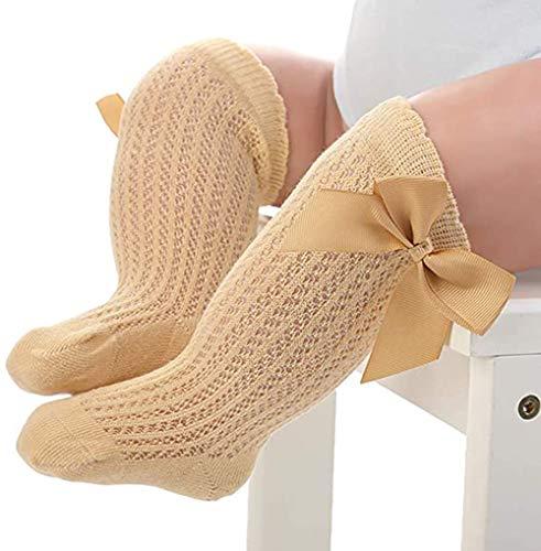 PAADIYA Neugeborenes Baby Kniestrümpfe Groß Bogenknoten Strümpfe Lange Socken Sanft Baumwollsocken Prinzessin Socken 0-2 Jahre (Gelb, 12-24 Monate)