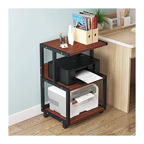 Supporto per fax 3 Mensola Mobile Printer stand della carta Stampante 3D Media Organizer carrello con 4 ruote girevoli Supporto per stampante (Color : Black-b)