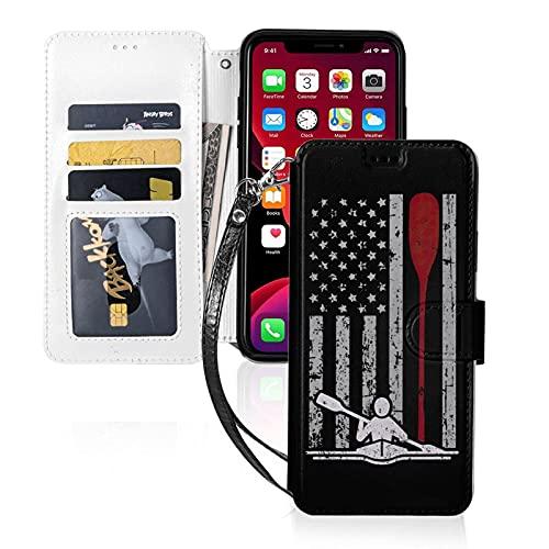 Estuche para teléfono LINGF,Estuche para Remo con Bandera Americana en Canoa para iPhone 11 Estuche Lindo para Mujeres,Hombres,Billetera,Estuche de Cuero con Correa,Estuche Protector