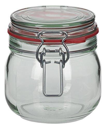 4 x 634 ml Drahtbügelglas/Spannbügelglas rund - inkl. Deckel, Gummidichtung und Spannbügel - Einkochglas - Einweckglas - Einmachglas - Bügelglas - Haushaltsglas - Allzweckglas - Aufbewahrungsglas