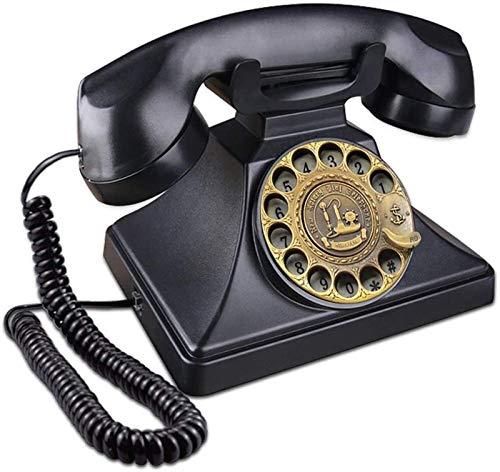 SQL Línea Fija Multifuncional Teléfono Antiguo de dial rotatorio con Timbre de Metal clásico con Cable con Altavoz y Funciones de relumbramiento Decoración de la casa Antigua