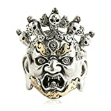 Epinki 925 Sterling Silver Punk Rock Vintage Gothic Skull Head Fire Ring for Men Size 11 Fashion Men Accessories