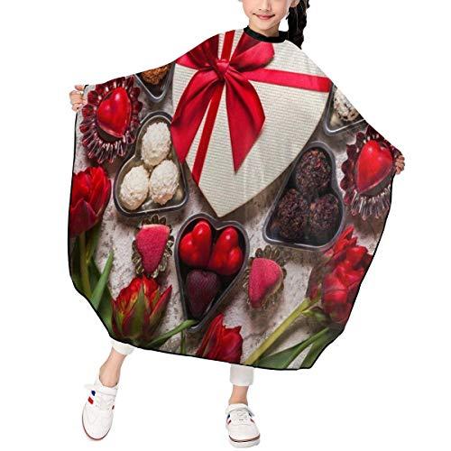 HHJJI Kinder Schokolade Tulpe Valentine Haarschnitt Schürze Spezielle Friseur Haarschnitt Kap Wasserdicht Für Haarschnitt Styling Kittel Abdeckung Stoff