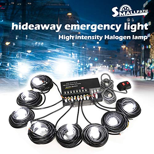 SmallFatW 8 HID Bulbs 160w Hide-a-way Emergency Hazard Warning Headlight Truck Strobe Light Kit System (White)