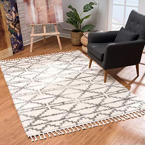 MyShop24 Teppich Wohnzimmer Hochflor - Creme Grau - Deko Schlafzimmer - Soft Shaggy mit Fransen Rauten Muster - Oeko Tex 100 Standard - Allergiker geeignet, Teppich Größen:240 x 340 cm
