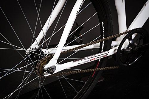 28″ Zoll Alu Rennrad Single Speed GIORDANO Race Bike Fixi Fahrrad Rh 56cm weiss - 2