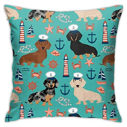 Qian Mu888 Funda de almohada para sofá con diseño de perro salchicha náutico