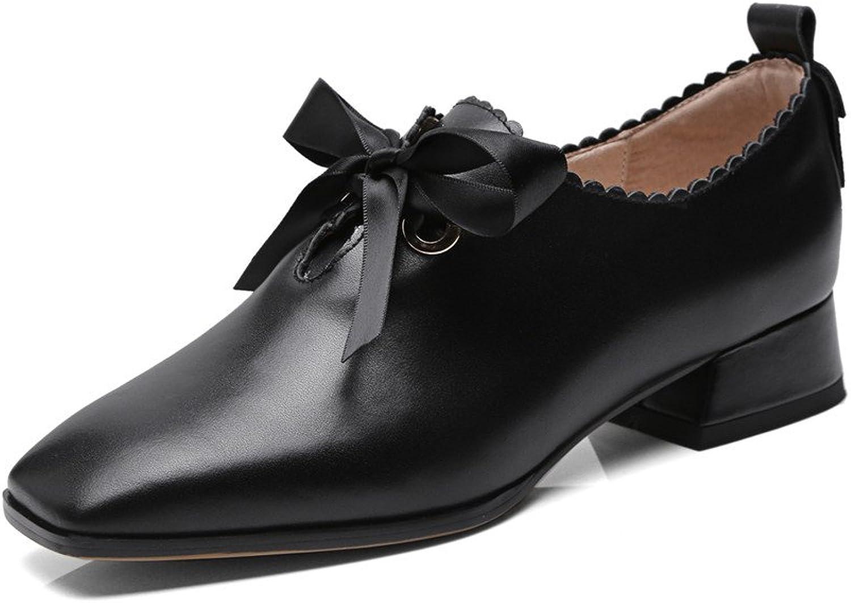 Nio Sju genuina läderskor, damernas fyrkantiga tålåga klackar på handgjorda skor, svart komfortpump