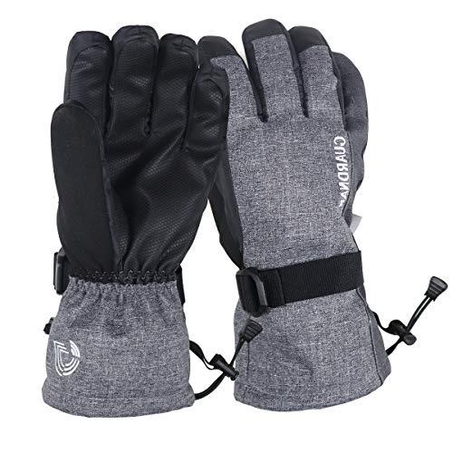 Guardnar Guantes ecológicos de esquí de Invierno de Materiales reciclados Impermeables para Pantalla táctil - Gris - Talla única