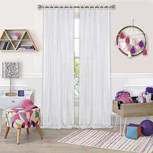 "Elrene Home Fashions Greta Crushed Sheer Tie Tab Top Teen Kids Single Window Panel Curtain Drape, 50"" x 95"" (1, White"