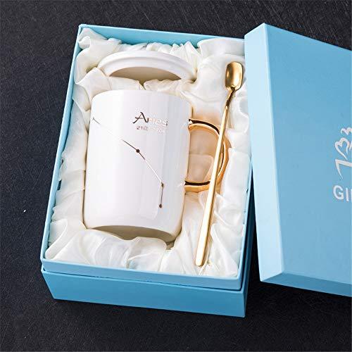 Creatieve Constellatie Keramische Beker met Cover Lepel Koppels Water Cup Koffie Beker Mark Cup 400ml 400ML Ram (wit)