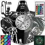 Reloj de pared con luz LED RGB y piloto para mando a distancia, diseño moderno y decorativo para regalo de cumpleaños