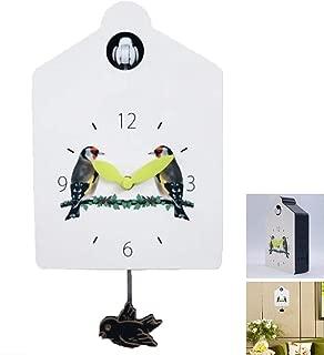 RANRANHOME Small Cuckoo Clock Birdhouse White, Modern Cuckoo Clock Natural Bird Voices Or Cuckoo Call, Design Clock Pendulum, 31X16.5Cm/White