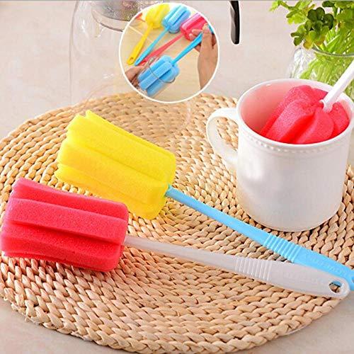 CYONGYOU 3 STKS keuken spons borstel lange handvat huishoudelijke tool spons borstel voor wijn glazen fles koffie thee glas