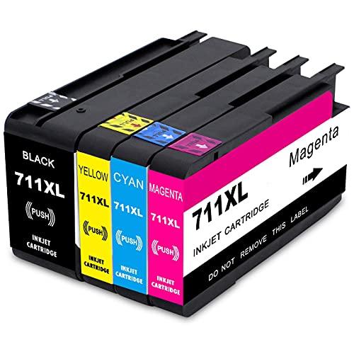 B-T Compatible Cartuchos de Tinta Reemplazo para HP 711XL 711 XL CZ129A CZ130A CZ131A CZ132A para HP Designjet T120 24 T120 610 T520 24 T520 36 T520 610 T520 914 (4 Pack)