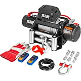 VEVOR Truck Winch 15500Ibs Electric Winch 28.5m/93.5ft Cable Steel 12V Power Winch Jeep Winch with Wireless Remote Control and Powerful Motor for UTV ATV & Jeep Truck and Wrangler in Car Lift